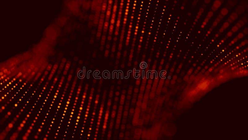 Onda de part?culas vermelhas Fundo abstrato do fogo com uma onda din?mica rendi??o 3d ilustração royalty free