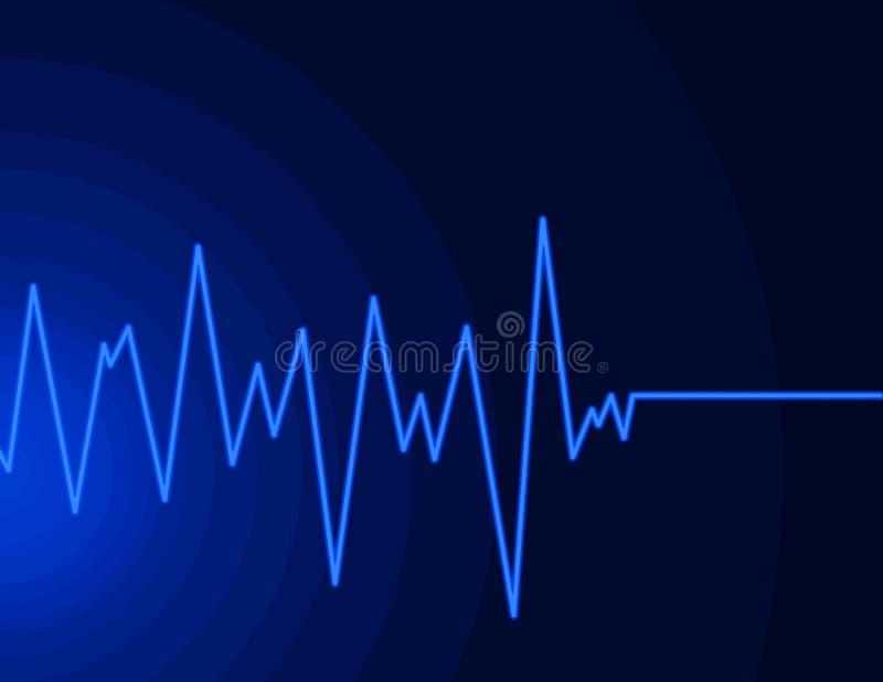 Onda de rádio - azul de néon imagem de stock