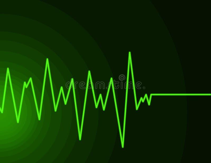 Onda de rádio - verde do néon ilustração royalty free