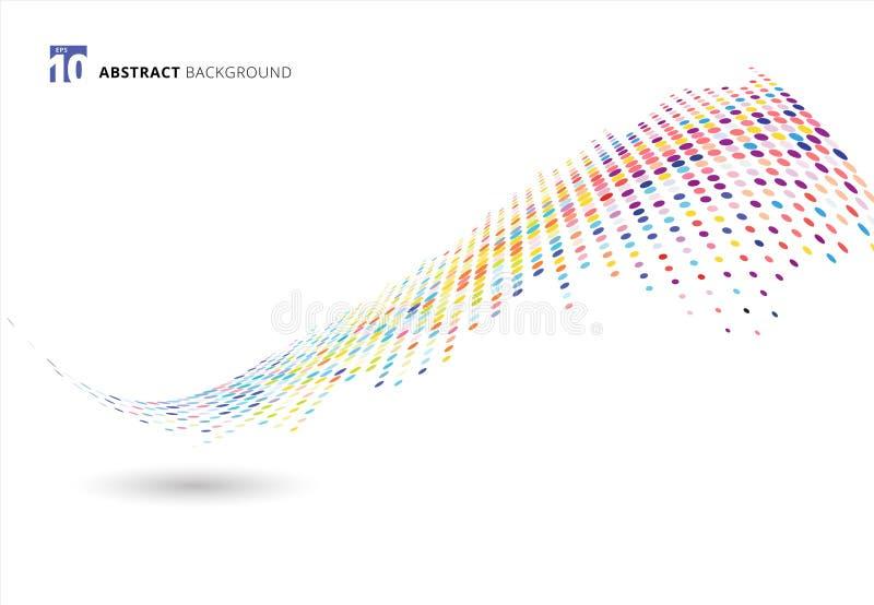 Onda de semitono colorida del modelo de puntos de la textura de los elementos del extracto o torcer aislado en el fondo blanco libre illustration