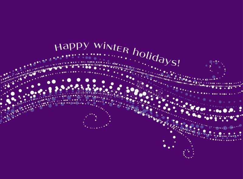 Onda decorativa de la nieve de la Navidad en el fondo violeta stock de ilustración