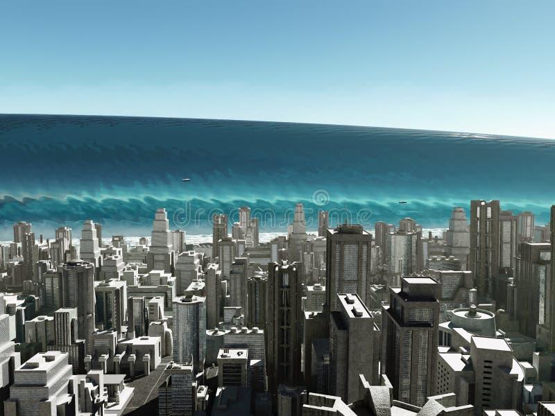 Onda dei tsunami che viene alla città immagine stock libera da diritti