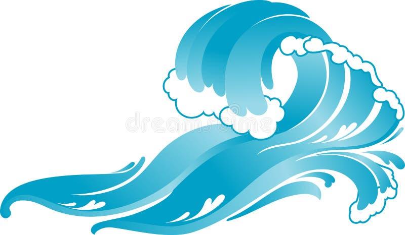 Onda deixando de funcionar do surfista azul ilustração royalty free