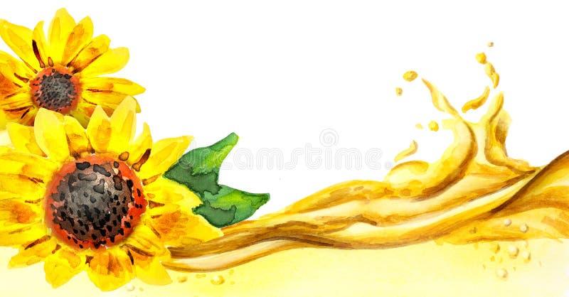 Onda del aceite de girasol, acuarela ilustración del vector