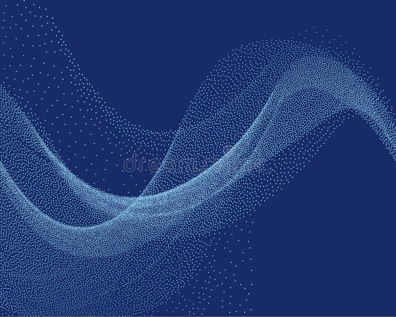 Onda del flujo de Digitaces con las pequeñas partículas en el movimiento Fondo abstracto con el efecto del humo ilustración del vector