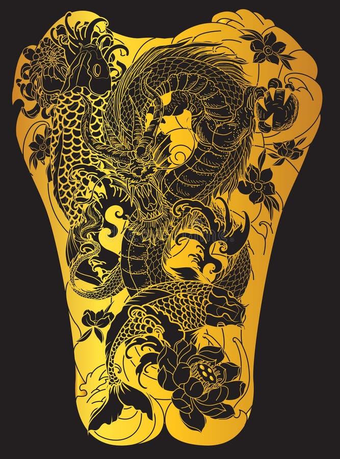 Onda del japonés para el tatuaje dé los pescados exhaustos del dragón y del koi con el tatuaje de la flor para la parte posterior stock de ilustración