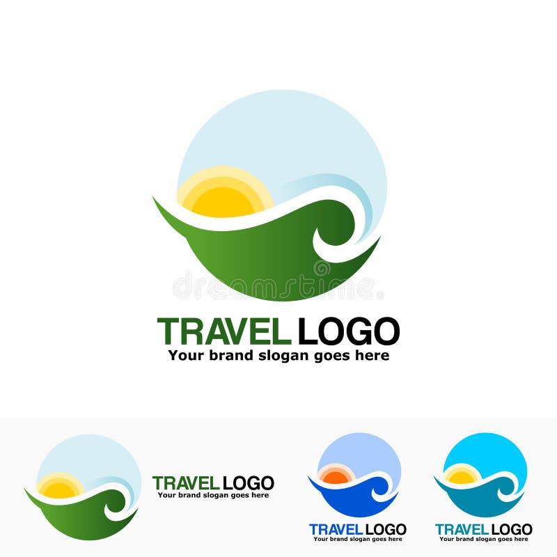 Onda del mar con el logotipo del sol libre illustration