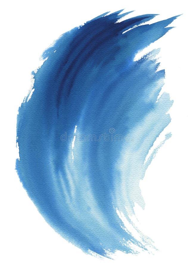 Onda del mar Ejemplo dibujado mano abstracta de la acuarela, aislado en el fondo blanco libre illustration