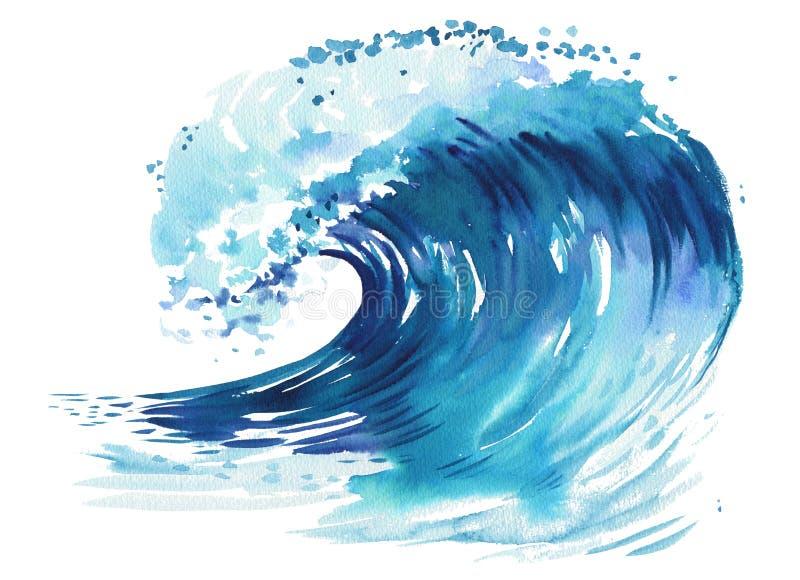 Onda del mar Ejemplo dibujado mano abstracta de la acuarela, aislado en el fondo blanco stock de ilustración