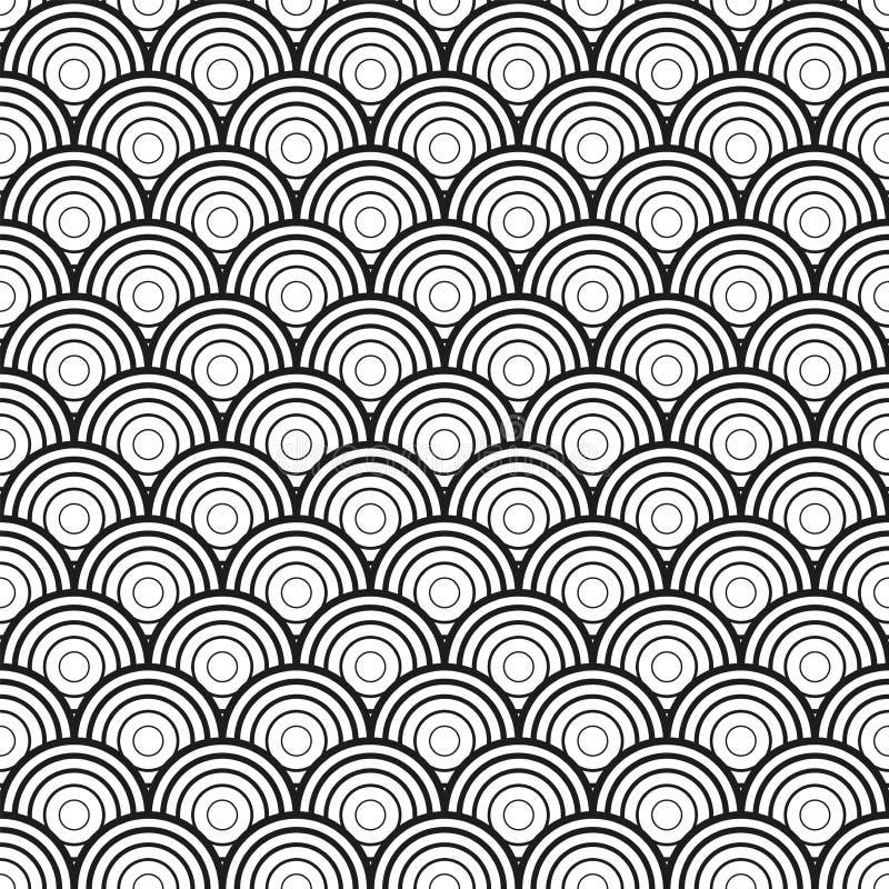 Onda del mar o modelo inconsútil de las escalas de pescados Ornamento geométrico asiático tradicional Vector ilustración del vector