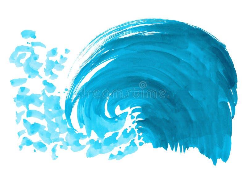 Onda del mare Illustrazione disegnata a mano dell'acquerello astratto, isolata su fondo bianco illustrazione di stock
