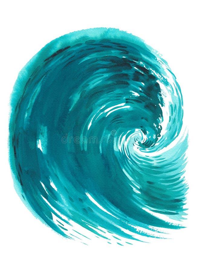 Onda del mare Illustrazione disegnata a mano dell'acquerello astratto, isolata su fondo bianco illustrazione vettoriale