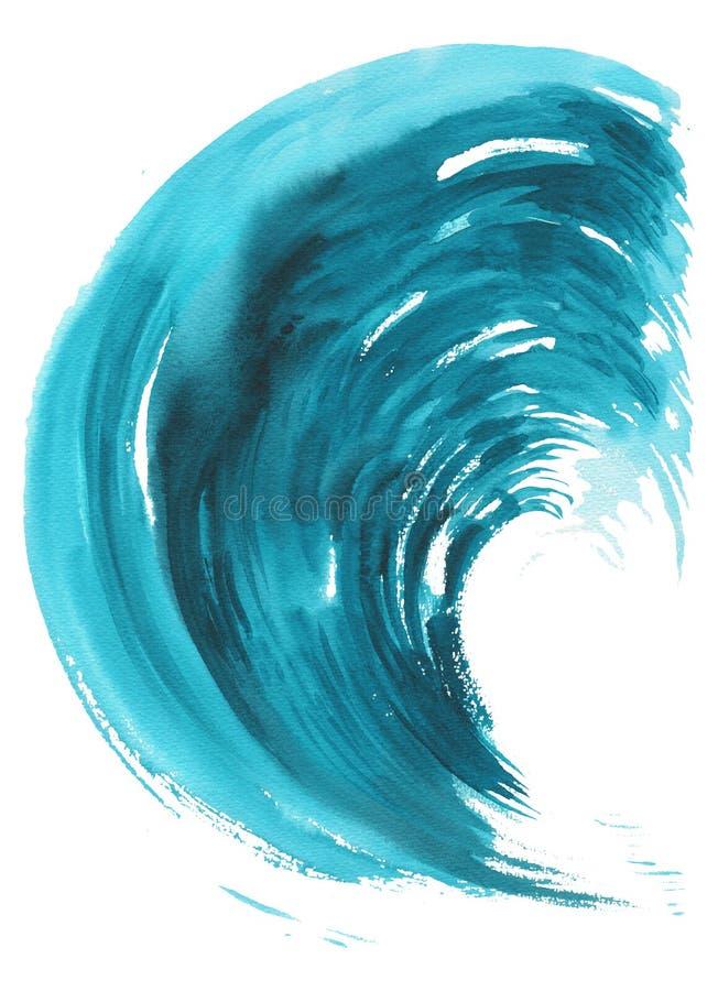 Onda del mare Illustrazione disegnata a mano dell'acquerello astratto, isolata su fondo bianco royalty illustrazione gratis