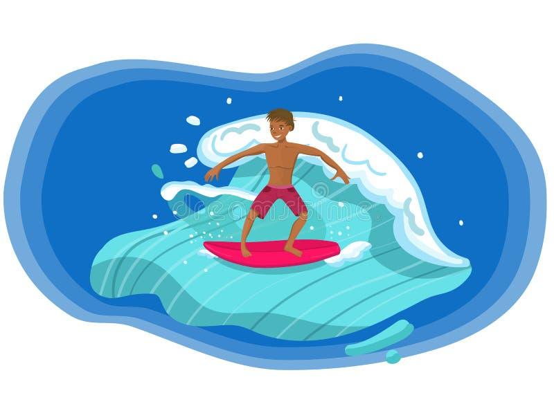 Onda del montar a caballo de la persona que practica surf con imagen roja del vector del tablero ilustración del vector