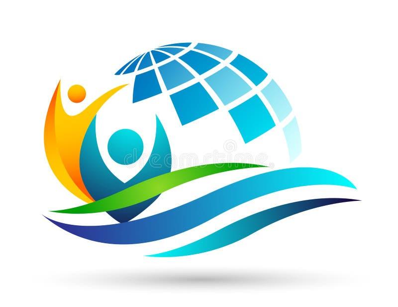 Onda dell'acqua di mare di cura della gente del mondo di risparmi del globo che ciao la gente per conservare per proteggere vetto illustrazione di stock