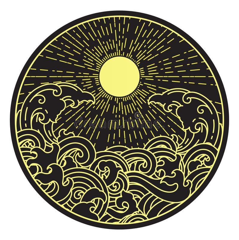 Onda di acqua e del sole nella forma rotonda illustrazione di stock