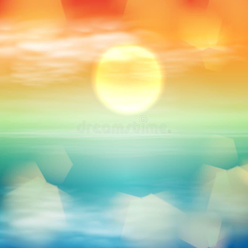 Onda di acqua nel tempo di tramonto illustrazione di stock