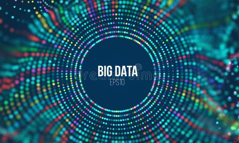 Onda di griglia del cerchio Fondo astratto di scienza di bigdata Grande tecnologia dell'innovazione di dati illustrazione di stock