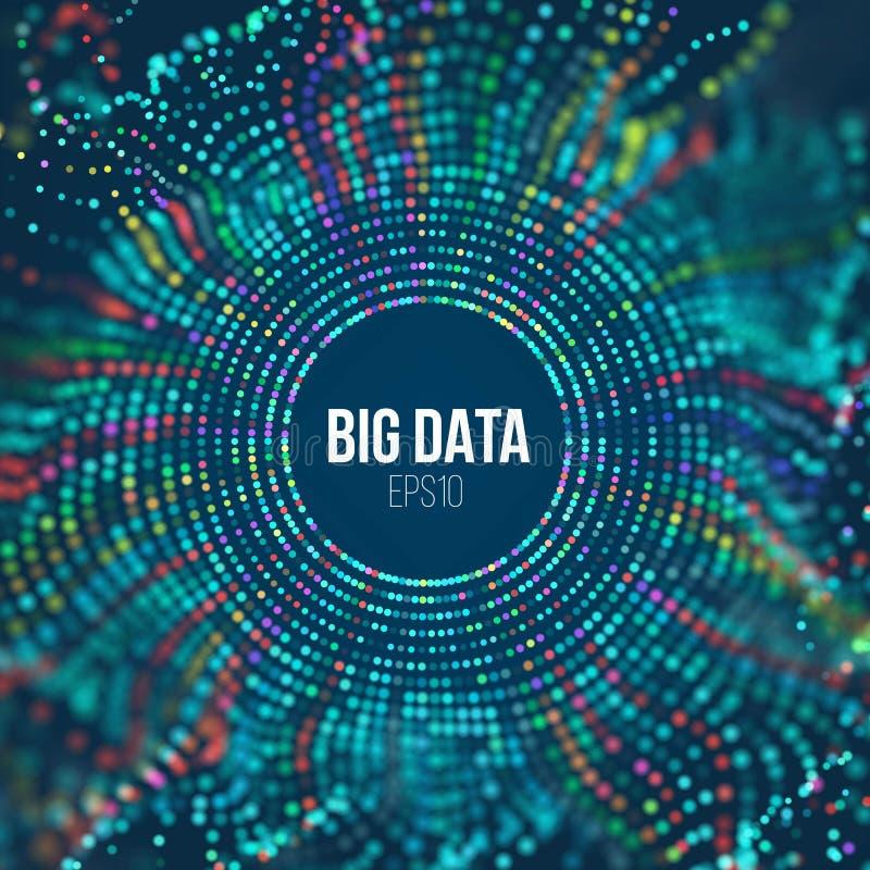 Onda di griglia del cerchio Fondo astratto di scienza di bigdata Grande tecnologia dell'innovazione di dati illustrazione vettoriale