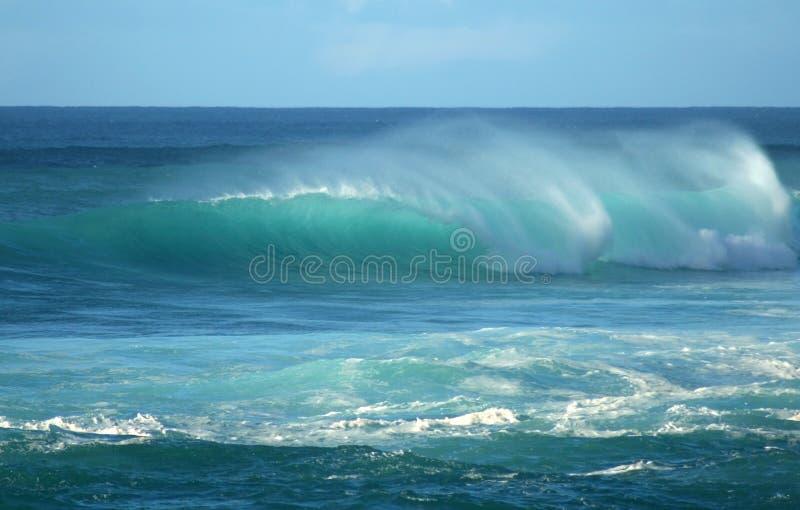 Onda di imbarilamento della spiaggia di tramonto, Hawai immagini stock