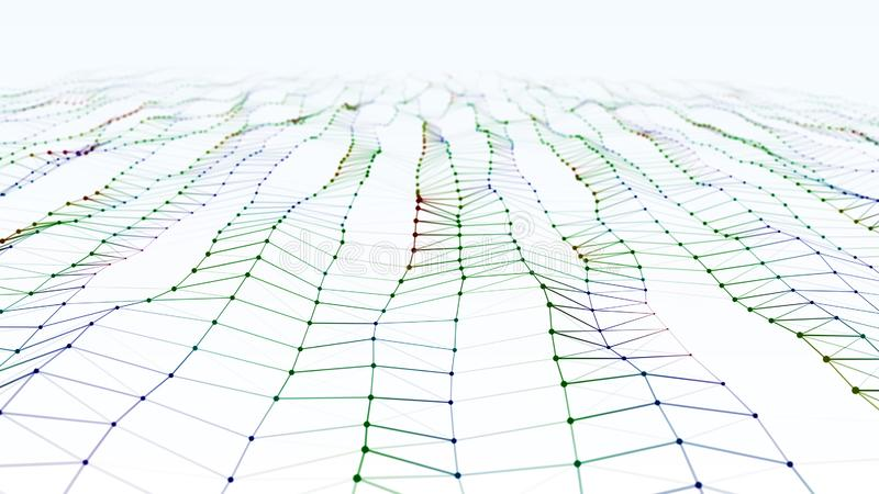 Onda di superficie astratta moderna della particella rosso scuro, verde, blu con campo visivo royalty illustrazione gratis