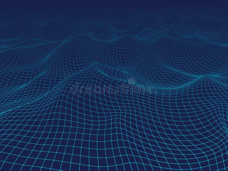 onda digital abstracta 3D Fondo del azul de la tecnología ilustración del vector
