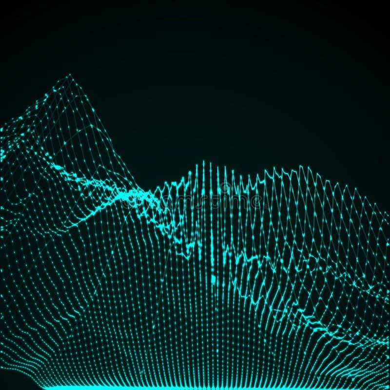 onda digital abstrata iluminada 3D ilustração do vetor