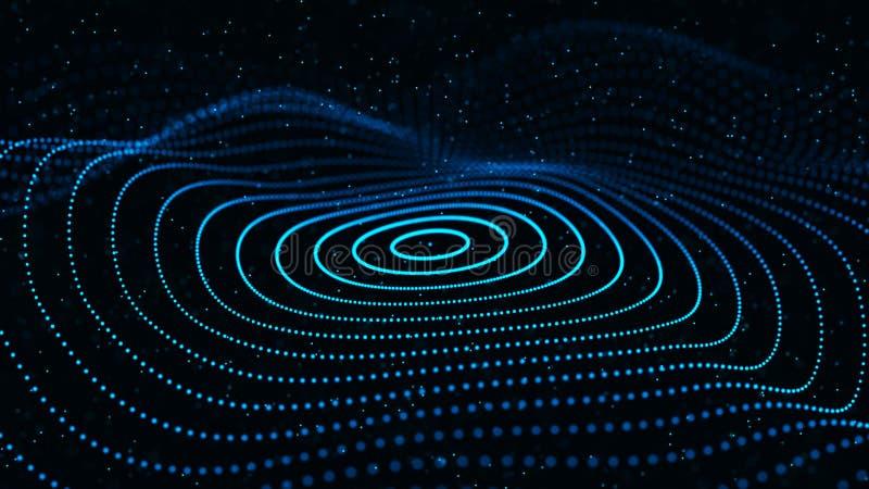 Onda dinâmica abstrata das partículas Rede de pontos ou de pontos brilhantes Dados grandes Fundo abstrato colorido rendi??o 3d ilustração stock