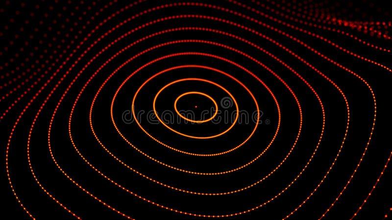 Onda dinâmica abstrata dos pontos e das linhas Rede das partículas brilhantes conectadas por linhas Dados grandes rendi??o 3d ilustração stock