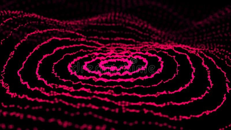 Onda dinâmica abstrata dos pontos e das linhas Rede das partículas brilhantes conectadas por linhas Dados grandes rendi??o 3d ilustração do vetor