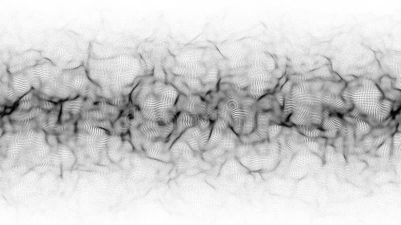 Onda dinamica astratta delle particelle Wave dei punti di pendenza su fondo bianco Illustrazione futuristica di vettore royalty illustrazione gratis