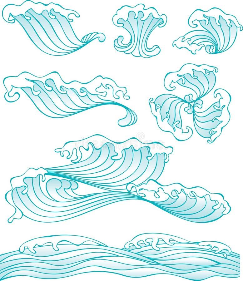 Onda do estilo chinês e elemento da água ilustração stock