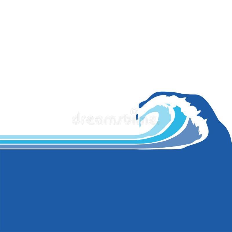 Onda do mar, oceano ilustração stock