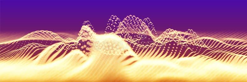 Onda dorata astratta della particella di vettore, matrice dei punti, profondità di campo bassa Illustrazione futuristica Tecnolog royalty illustrazione gratis