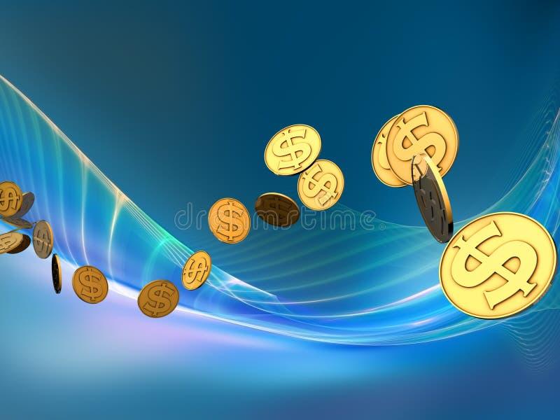 Onda dourada do dólar ilustração royalty free