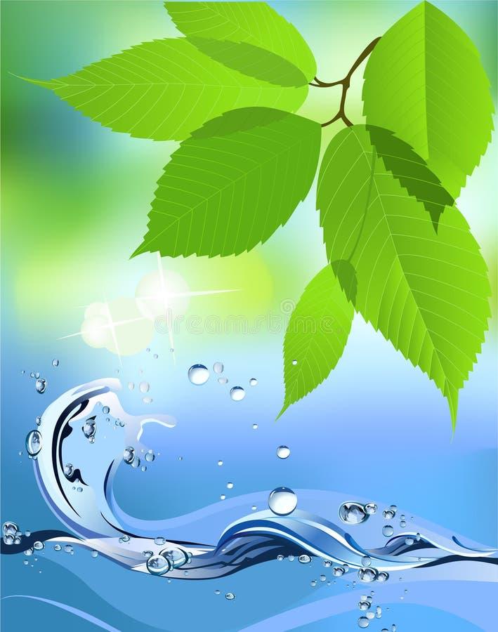 Onda e folhas de água. ilustração royalty free