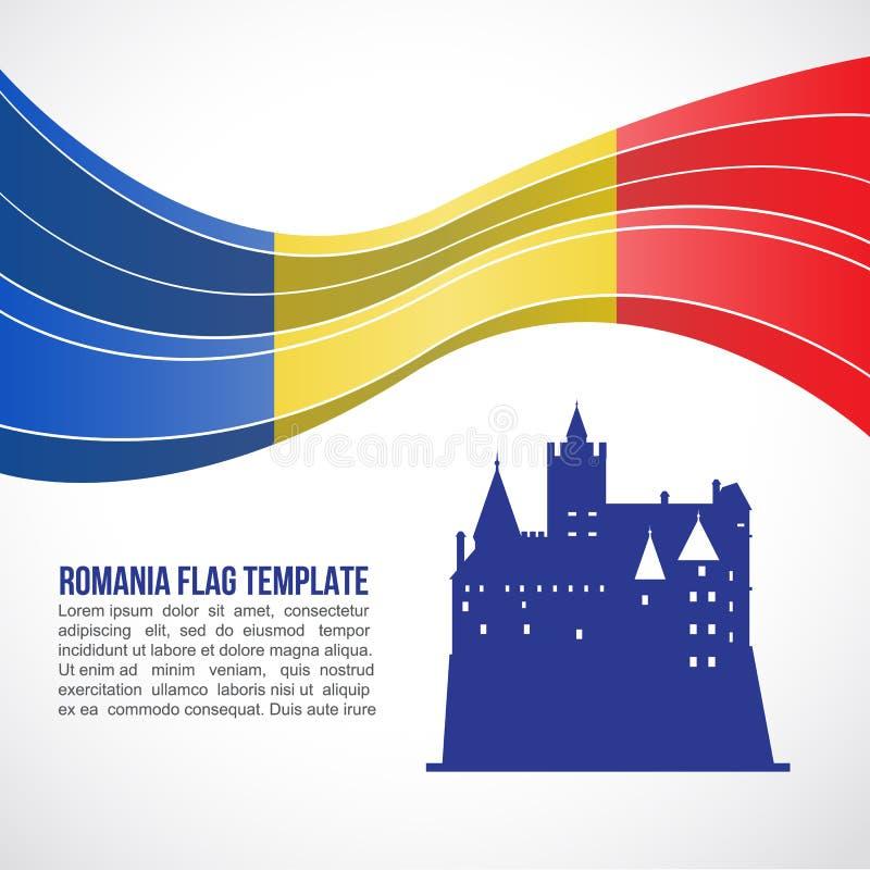 A onda e o farelo da bandeira de Romênia fortificam no molde do vetor da Transilvânia ilustração royalty free