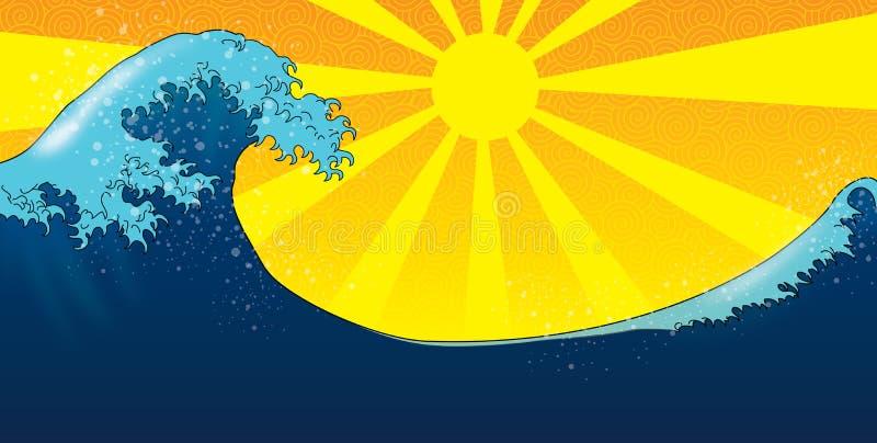 Onda enorme sobre el sol stock de ilustración
