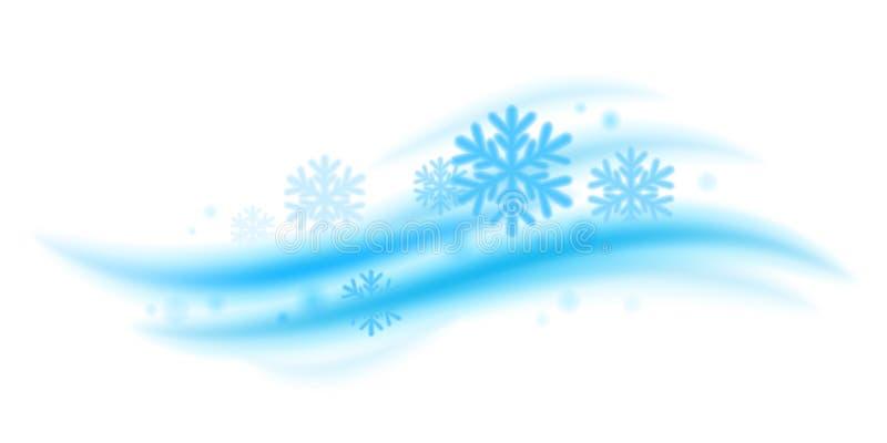 Onda fresca de la menta fresca con vector de los copos de nieve stock de ilustración