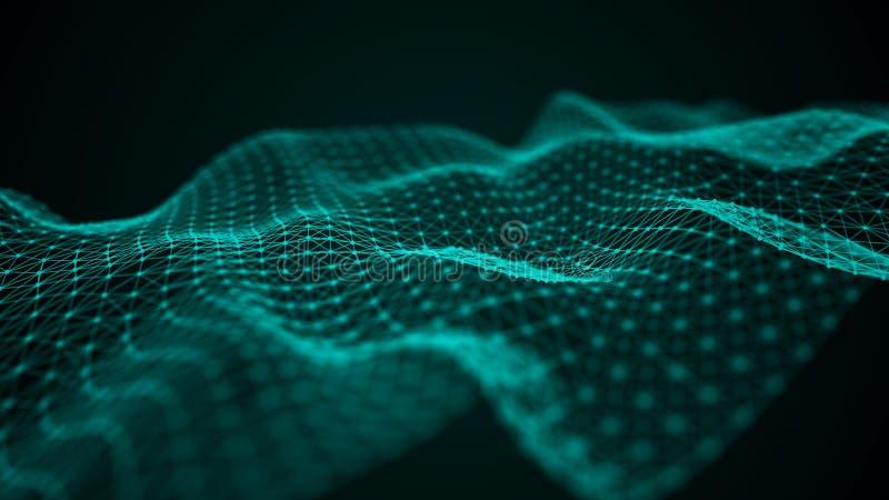 Onda futurista do ponto Fundo abstrato com uma onda din?mica Ilustra??o da tecnologia dos dados ilustração royalty free