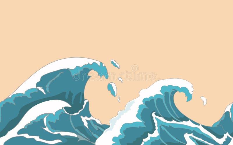 Onda grande del océano inconsútil en estilo japonés Chapoteo del agua, tormenta, naturaleza del tiempo Ilustración drenada mano d stock de ilustración