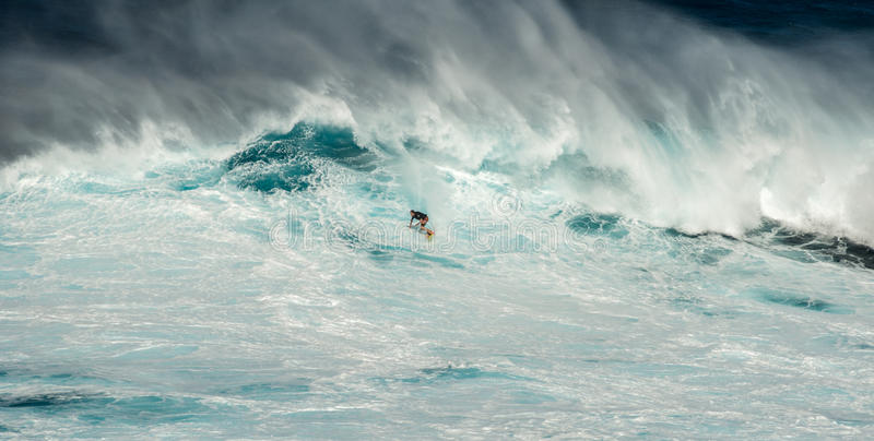 Onda grande nas maxilas Maui Havaí foto de stock