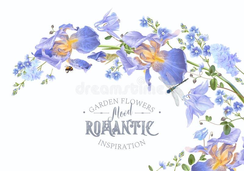 Onda horizontal da flor azul ilustração stock