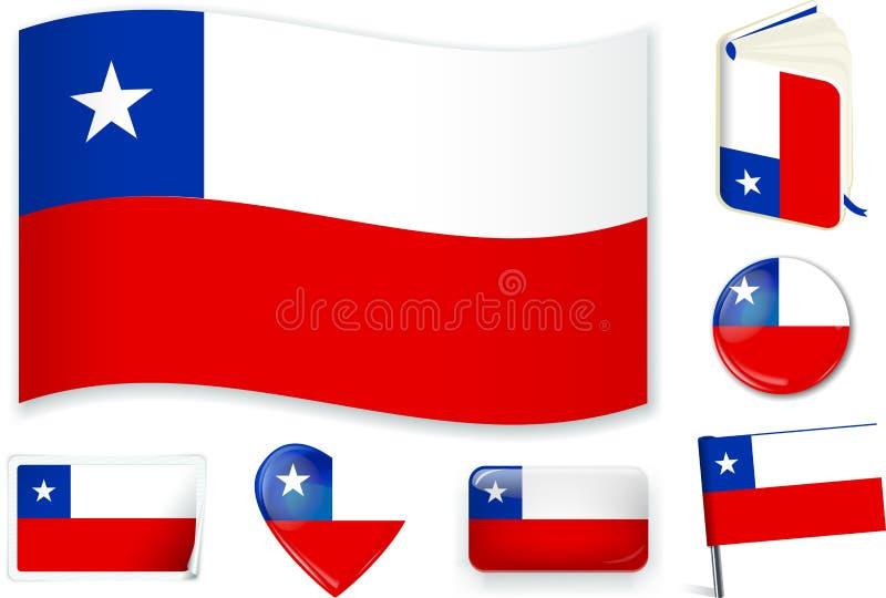 Onda, libro, círculo, perno, botón, corazón y etiqueta engomada de la bandera de Chile stock de ilustración