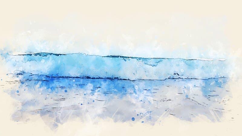 Onda macia do mar do sumário e fundo de pintura da aquarela do céu azul ilustração royalty free