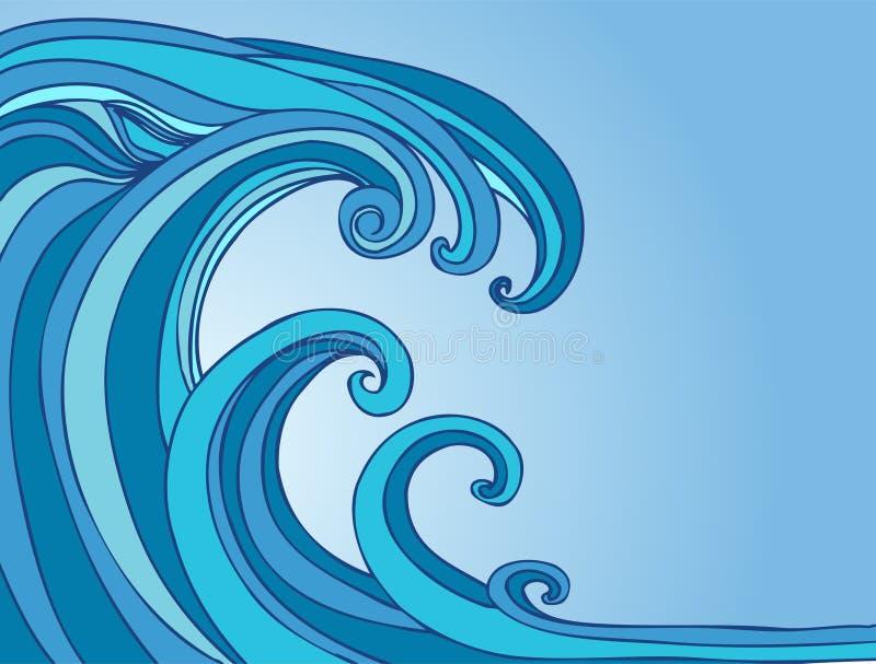 Onda maré do tsunami ilustração royalty free