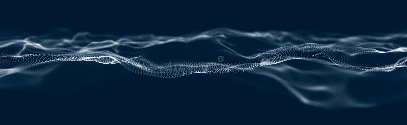 Onda musical das partículas Conexões estruturais sadias Fundo abstrato com uma onda de partículas luminosas Onda 3d ilustração stock