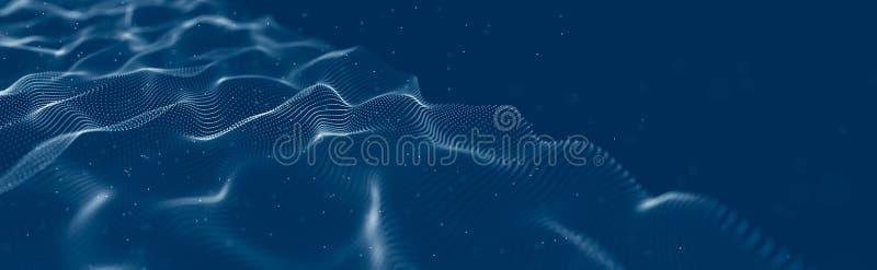 Onda musical de part?culas Conexiones estructurales sanas Fondo abstracto con una ola de part?culas luminosas Onda 3d fotos de archivo