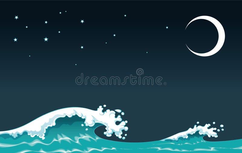 Onda na noite ilustração stock