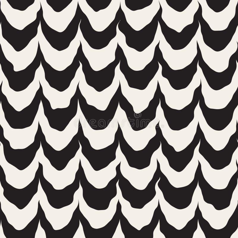 A onda pintado à mão áspera arredondada preto e branco sem emenda do vetor alinha o teste padrão ilustração royalty free